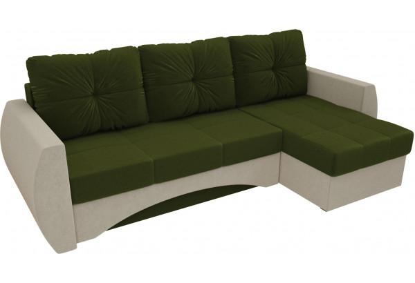 Угловой диван Сатурн Зеленый/Бежевый (Микровельвет) - фото 4