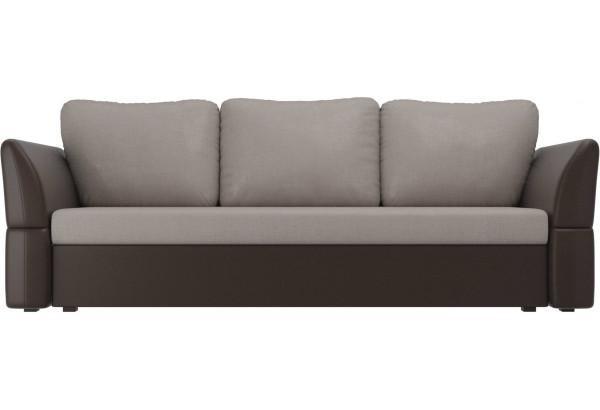 Диван прямой Гесен бежевый/коричневый (Рогожка/Экокожа) - фото 2
