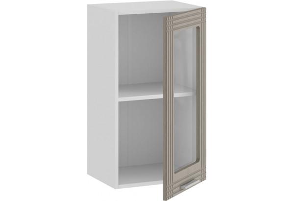 Шкаф навесной c одной дверью со стеклом «Ольга» (Белый/Кремовый) - фото 2