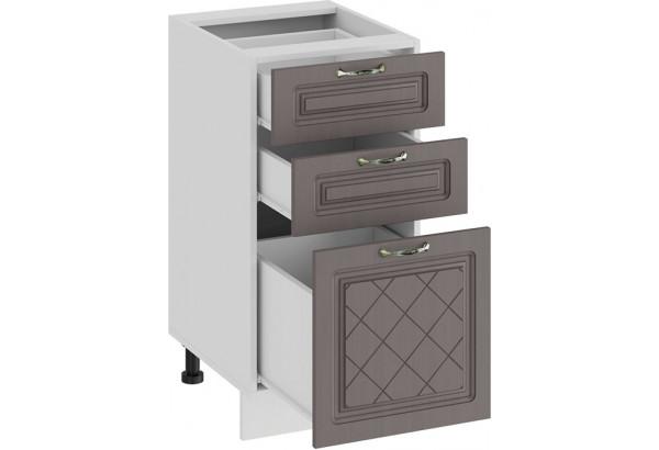 Шкаф напольный с тремя ящиками «Бьянка» (Белый/Дуб серый) - фото 2