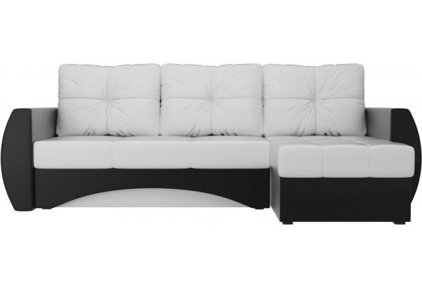 Угловой диван Сатурн Белый/Черный (Экокожа) - фото 2