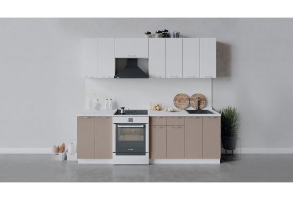 Кухонный гарнитур «Весна» длиной 240 см (Белый/Белый глянец/Кофе с молоком) - фото 1