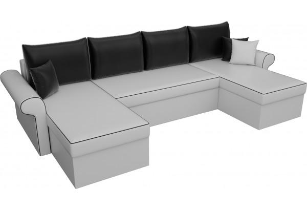 П-образный диван Милфорд Белый/Черный (Экокожа) - фото 4