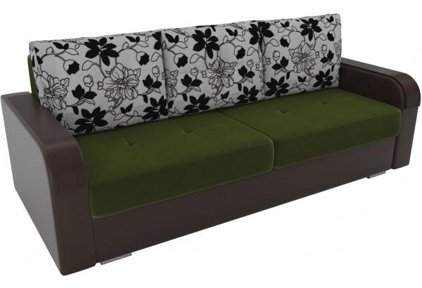 Прямой диван Мейсон зеленый/коричневый (Микровельвет/Экокожа/флок на рогожке) - фото 4