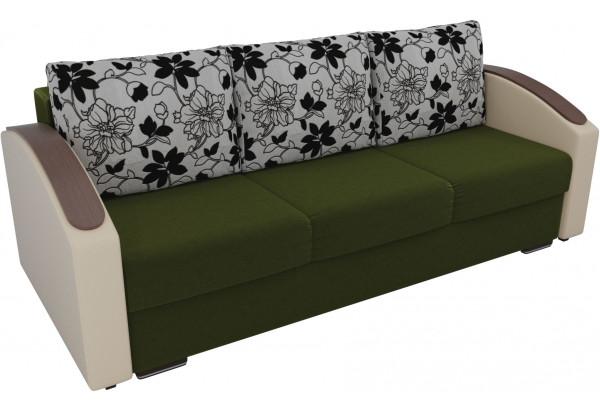 Прямой диван Монако slide Зеленый/Бежевый (Микровельвет/Экокожа/флок на рогожке) - фото 2