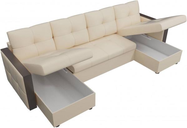 П-образный диван Валенсия Бежевый (Экокожа) - фото 5