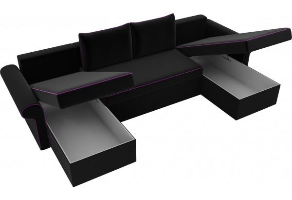 П-образный диван Милфорд Черный (Микровельвет) - фото 5