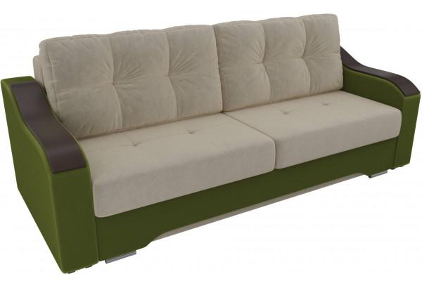Прямой диван Браун бежевый/зеленый (Микровельвет) - фото 4
