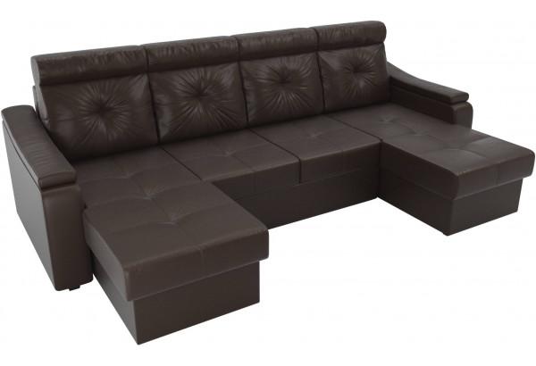 П-образный диван Джастин Коричневый (Экокожа) - фото 4