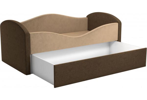 Детская кровать Сказка бежевый/коричневый (Микровельвет) - фото 2