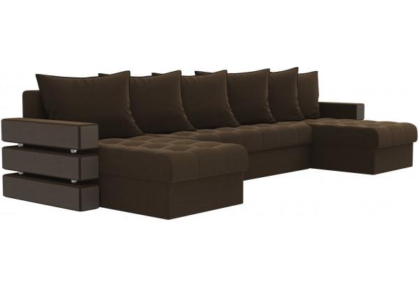 П-образный диван Венеция Коричневый (Микровельвет) - фото 3