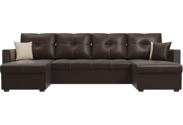 П-образный диван Валенсия Коричневый (Экокожа) - фото 2