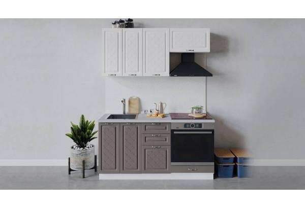 Кухонный гарнитур «Бьянка» длиной 160 см со шкафом НБ (Белый/Дуб белый/Дуб серый) - фото 1