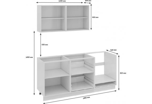 Кухонный гарнитур длиной - 180 см (со шкафом НБ) Фэнтези (Белый универс)/(Грасс) - фото 3
