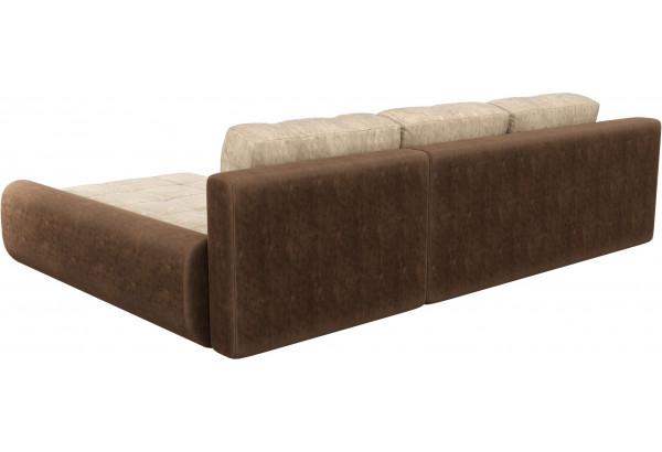 Угловой диван Анталина бежевый/коричневый (Велюр) - фото 5