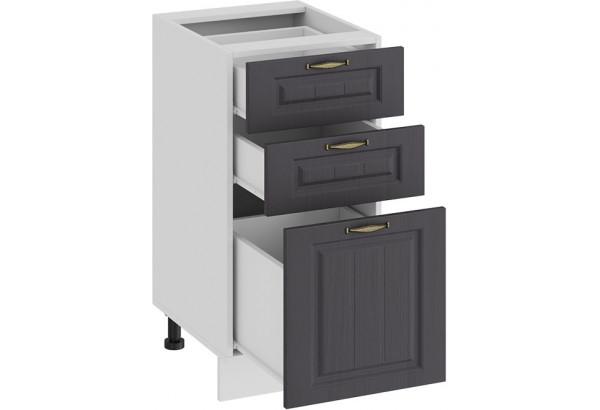 Шкаф напольный с тремя ящиками «Лина» (Белый/Графит) - фото 2