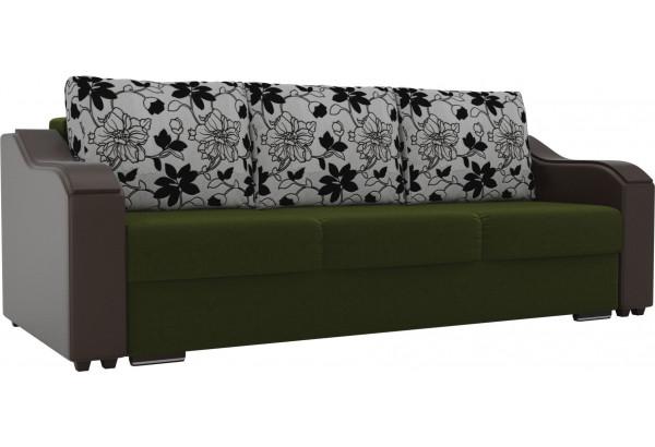 Прямой диван Монако зеленый/коричневый (Микровельвет/Экокожа/флок на рогожке) - фото 1