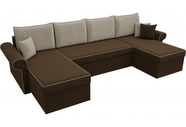 П-образный диван Милфорд Коричневый/Бежевый (Микровельвет) - фото 4