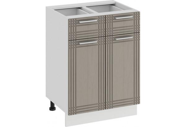 Шкаф напольный с двумя ящиками и двумя дверями «Ольга» (Белый/Кремовый) - фото 1