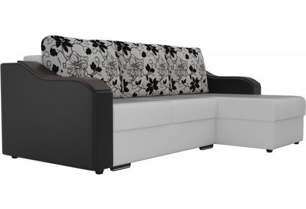 Угловой диван Монако Белый/Черный/Цветы (Экокожа/рогожка) - фото 3