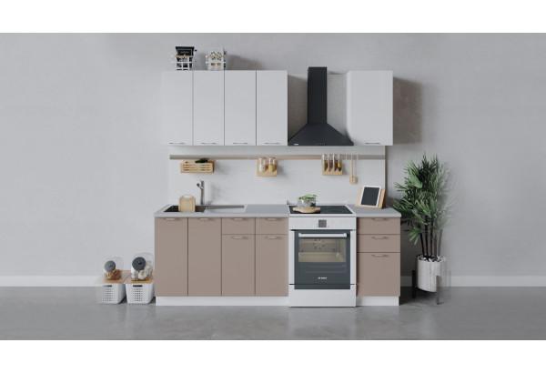 Кухонный гарнитур «Весна» длиной 160 см (Белый/Белый глянец/Кофе с молоком) - фото 1