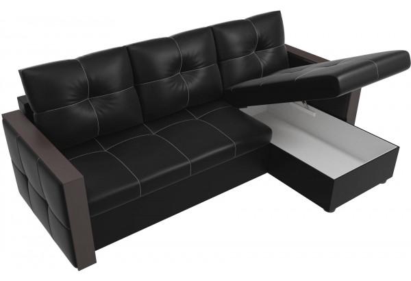 Угловой диван Валенсия Черный (Экокожа) - фото 5