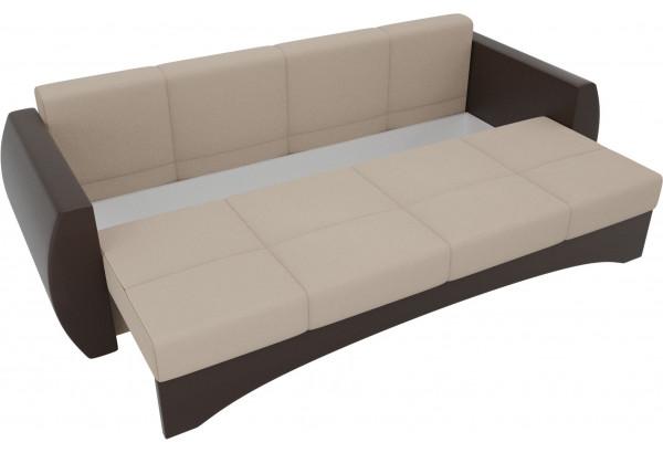 Прямой диван Сатурн бежевый/коричневый (Рогожка/Экокожа) - фото 5