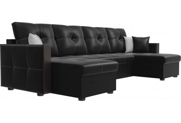 П-образный диван Валенсия Черный (Экокожа) - фото 3