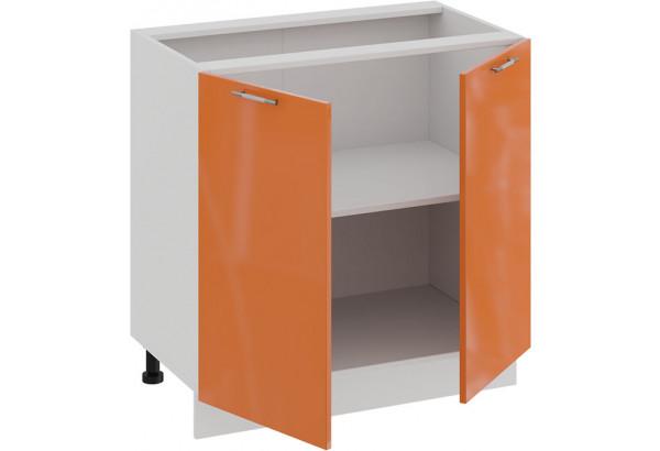 Шкаф напольный с двумя дверями «Весна» (Белый/Оранж глянец) - фото 2
