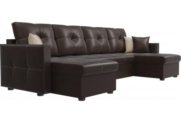 П-образный диван Валенсия Коричневый (Экокожа) - фото 3