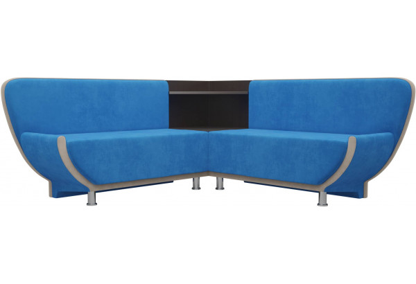 Кухонный угловой диван Лотос голубой/бежевый (Велюр) - фото 1