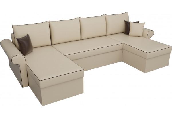 П-образный диван Милфорд Бежевый (Экокожа) - фото 4