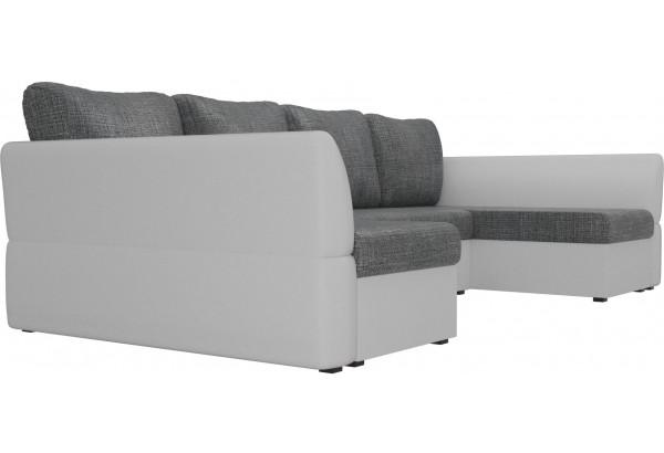 П-образный диван Гесен Серый/белый (Рогожка/Экокожа) - фото 3