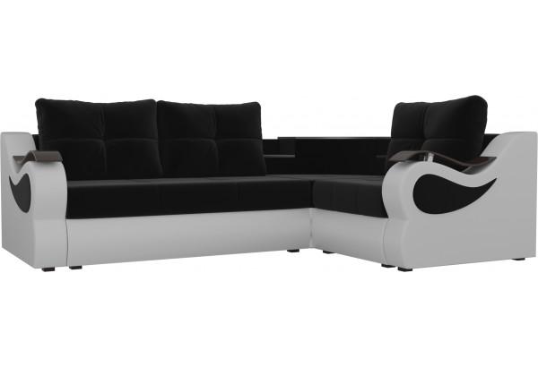 Угловой диван Митчелл Черный/Белый (Микровельвет/Экокожа) - фото 1