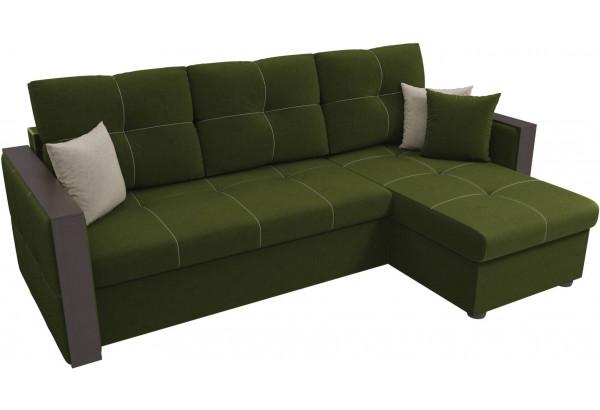 Угловой диван Валенсия Зеленый (Микровельвет) - фото 4
