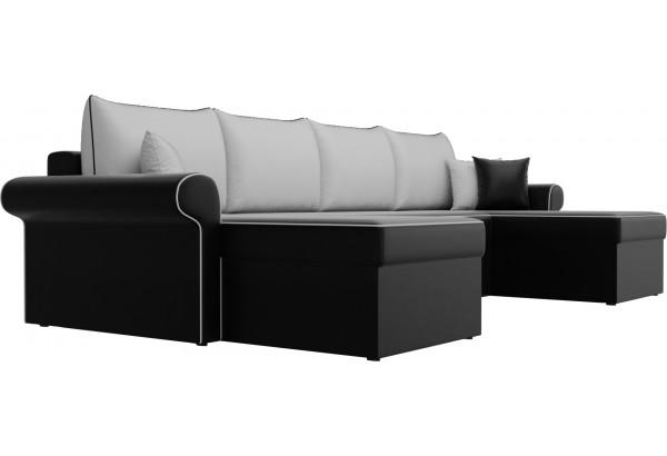 П-образный диван Милфорд Черный/Белый (Экокожа) - фото 3