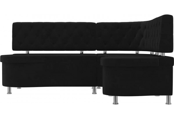 Кухонный угловой диван Вегас Черный (Велюр) - фото 2