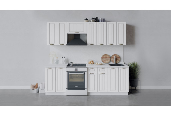 Кухонный гарнитур «Лина» длиной 240 см (Белый/Белый) - фото 1