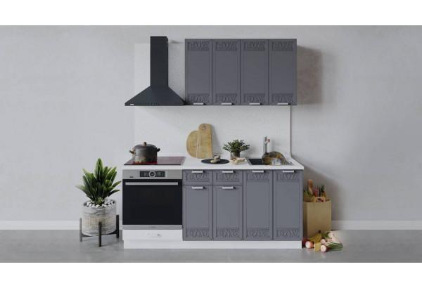 Кухонный гарнитур «Долорес» длиной 180 см со шкафом НБ (Белый/Титан) - фото 1