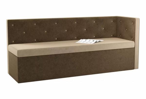 Кухонный диван Салвадор с углом бежевый/коричневый (Микровельвет) - фото 1