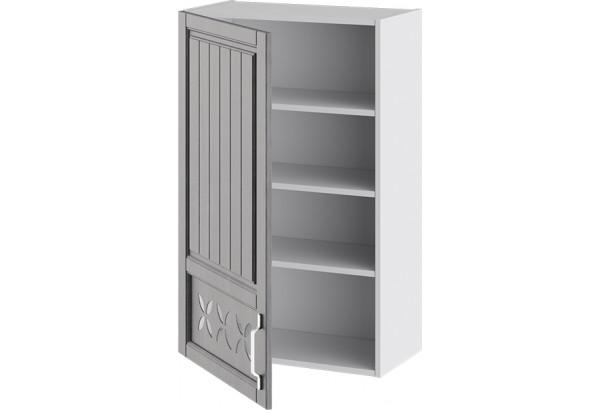 Шкаф навесной c декором (левый) (ПРОВАНС (Белый глянец/Санторини темный)) - фото 2