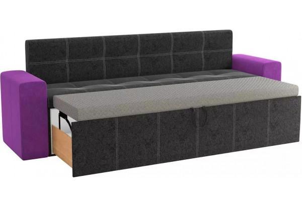 Кухонный прямой диван Династия черный/фиолетовый (Велюр) - фото 2