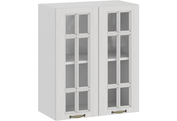Шкаф навесной c двумя дверями со стеклом «Лина» (Белый/Белый) - фото 1