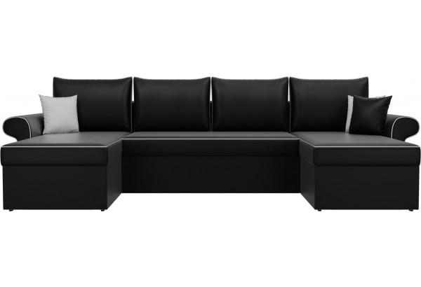 П-образный диван Милфорд Черный (Экокожа) - фото 2