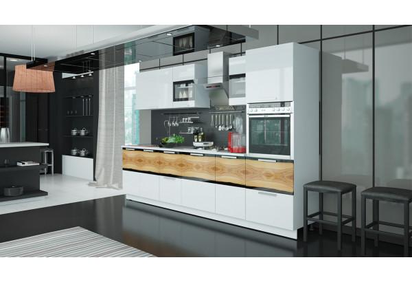 Кухонный гарнитур длиной - 300 см (с пеналом ПБ) Фэнтези (Белый универс)/(Вуд) - фото 2