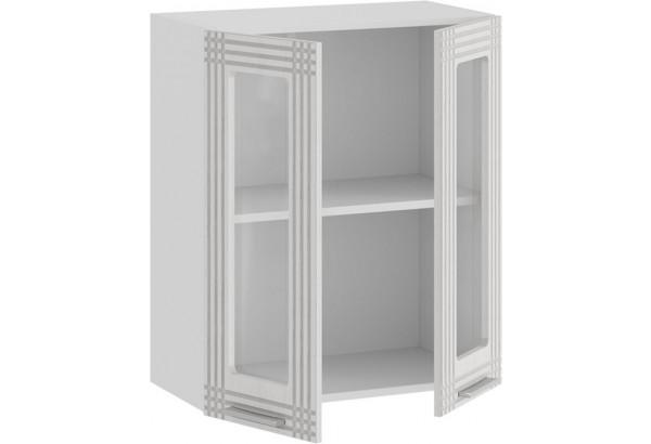 Шкаф навесной c двумя дверями со стеклом «Ольга» (Белый/Белый) - фото 2