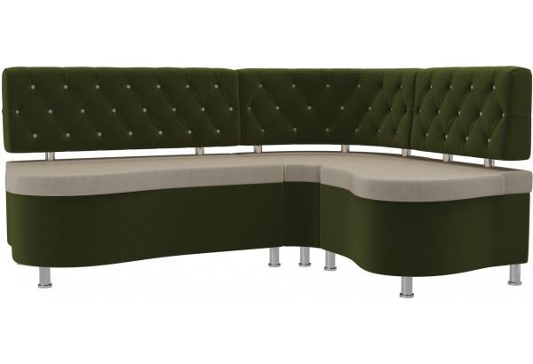 Кухонный угловой диван Вегас бежевый/зеленый (Микровельвет) - фото 1