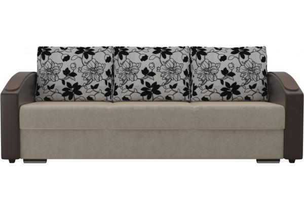 Прямой диван Монако slide бежевый/коричневый (Микровельвет/Экокожа/флок на рогожке) - фото 3