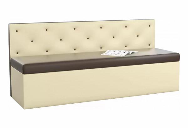 Кухонный прямой диван Салвадор Коричневый/Бежевый (Экокожа) - фото 1