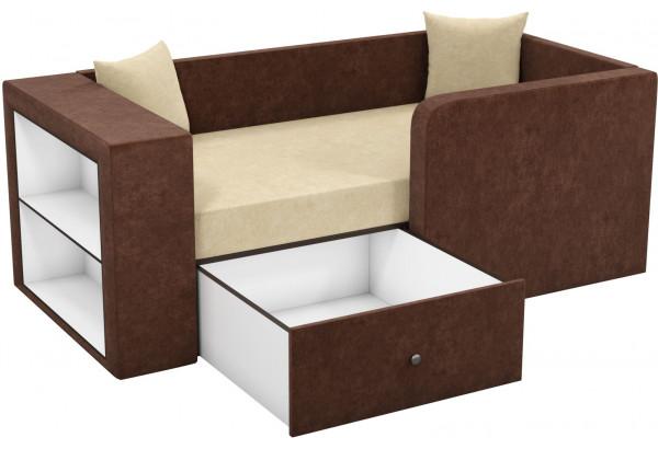 Детский диван Орнелла бежевый/коричневый (Микровельвет) - фото 2